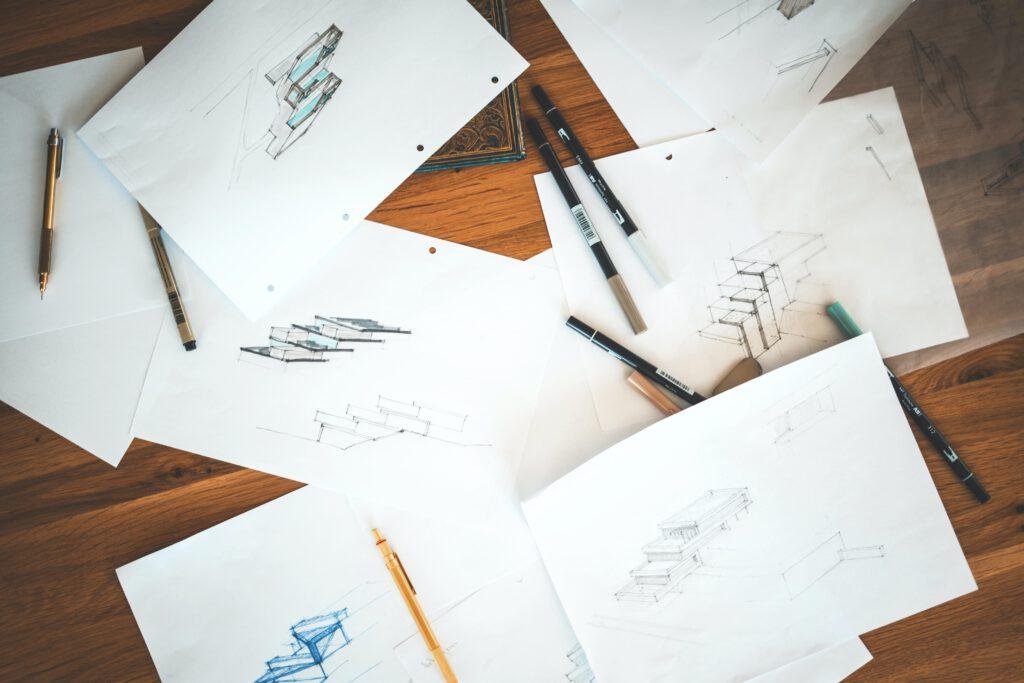 Architektur-Skizzen mit Gebäuden